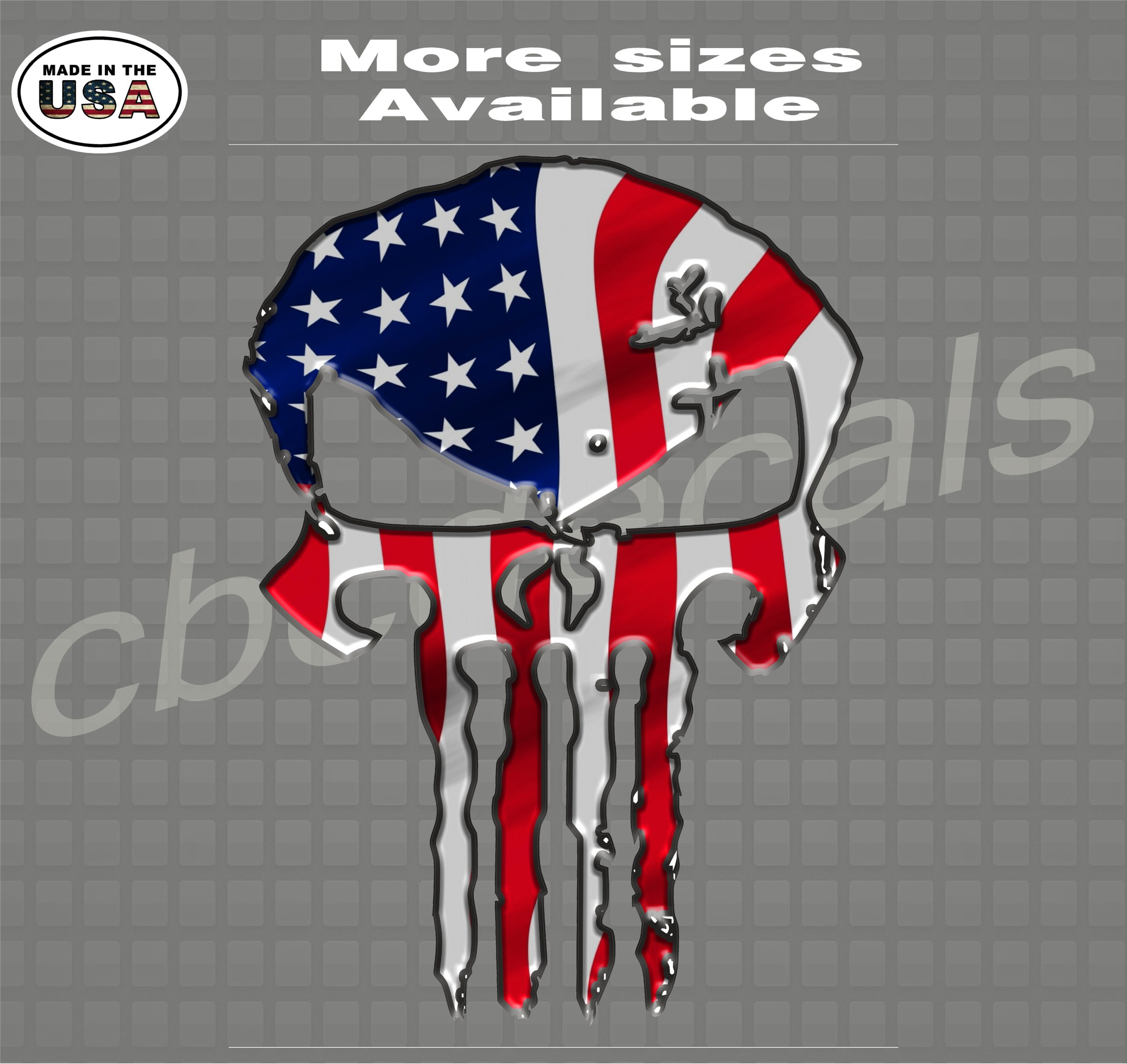 10 pack of Punisher Skull Vinyl Decal Window Stickers American Flag